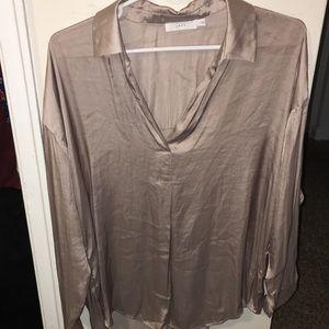 Rose/Champagne Satin Lush blouse US size LG